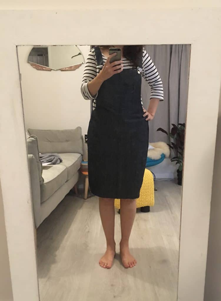Trying on finished tilly and buttons cleo pinafore dungaree dress with stripy top