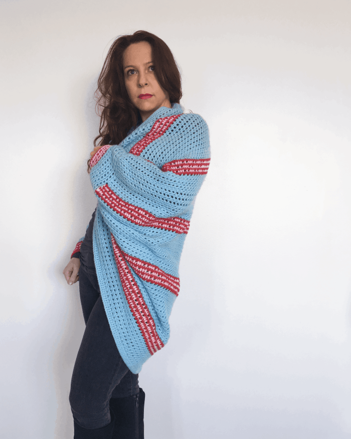 crochet stripy shrug pink red turquoise