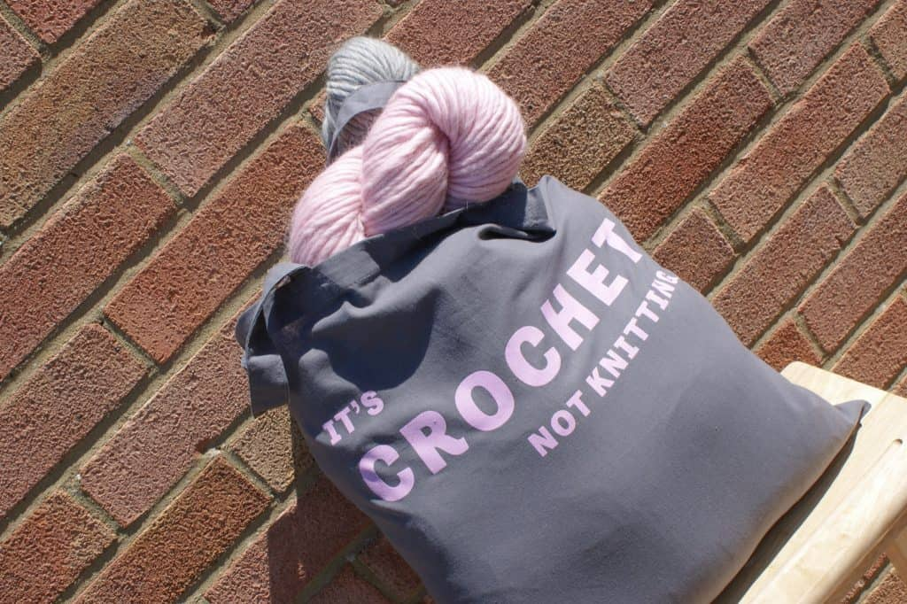 It's crochet not knitting grey cotton slogan crafty project tote bag