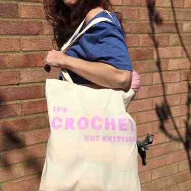 Crochet not knitting natural tote bag full of yarn