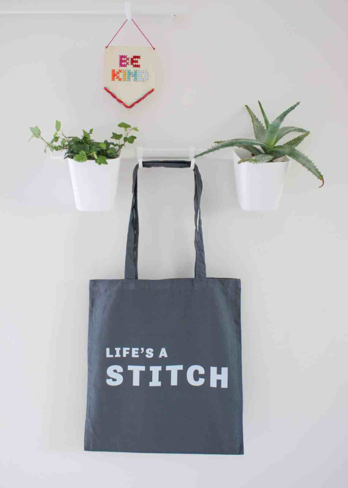 Life's a stitch screenprinted cotton tote