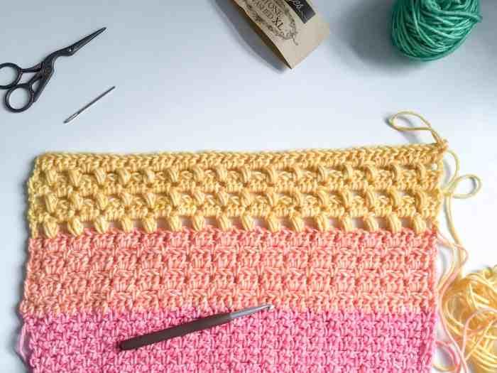 Granny dot stitch Maslows Rainbow CAL Crochet top