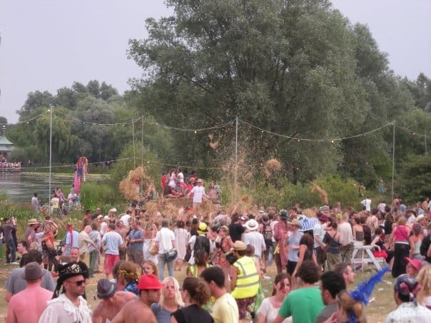 hay fight at secret garden party
