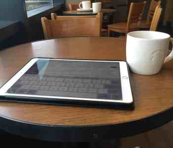 iPad on table in Starbucks