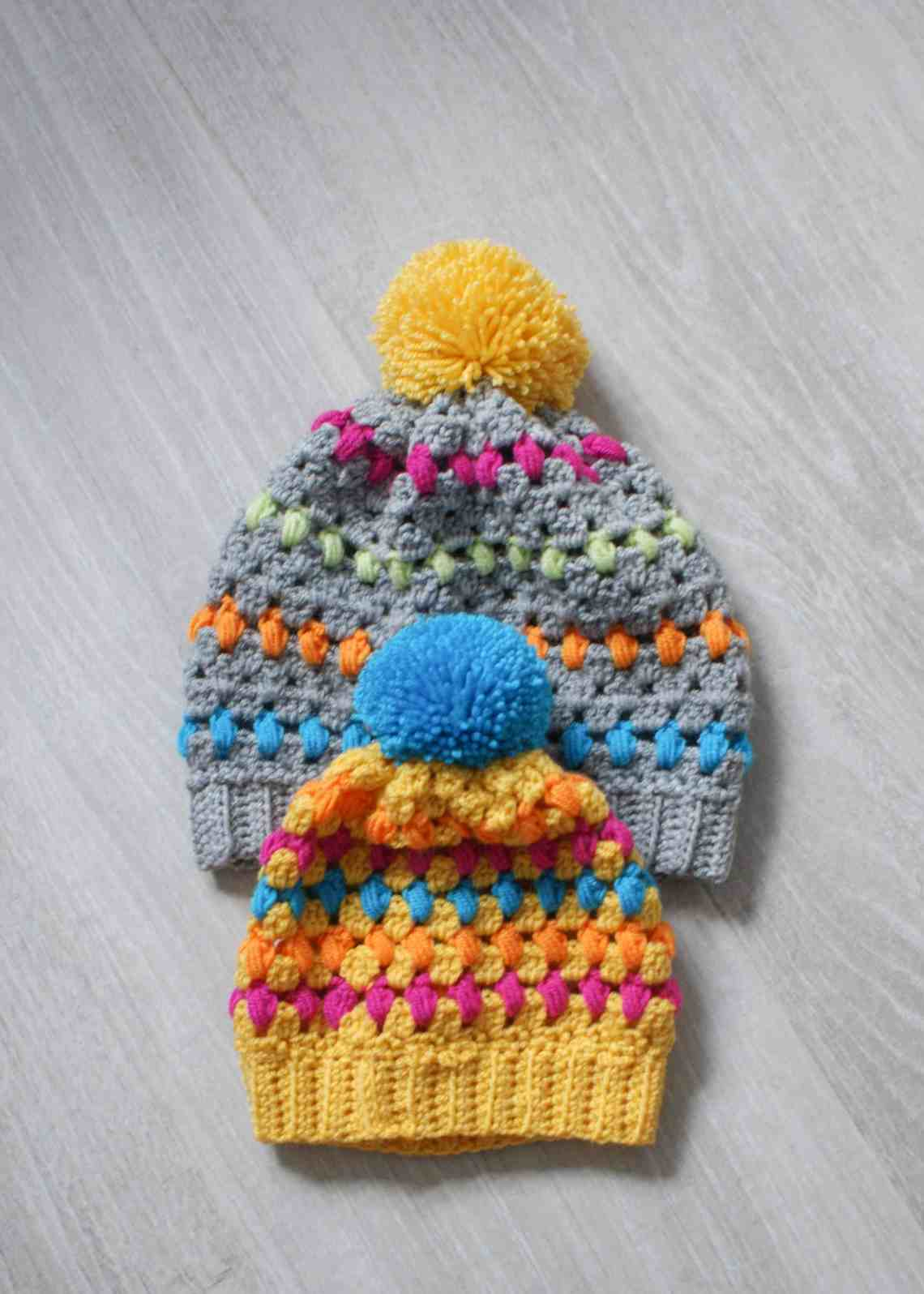 yellow and grey kids and adult crochet hat
