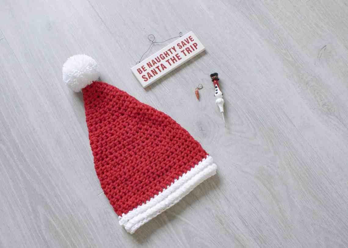 Crochet santa hat with christmas decorations crochet hook