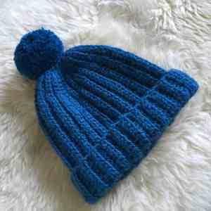Crochet ribbed bobble hat with pompom