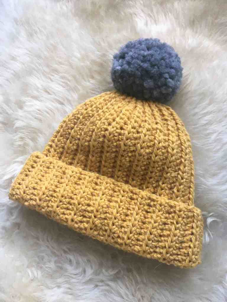 Mustard and grey pompom hat