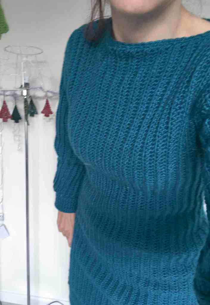 Front of crochet ribbed jumper dress