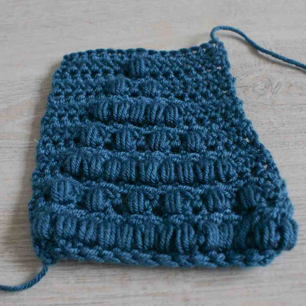 Blue Crochet puff stitch swatch