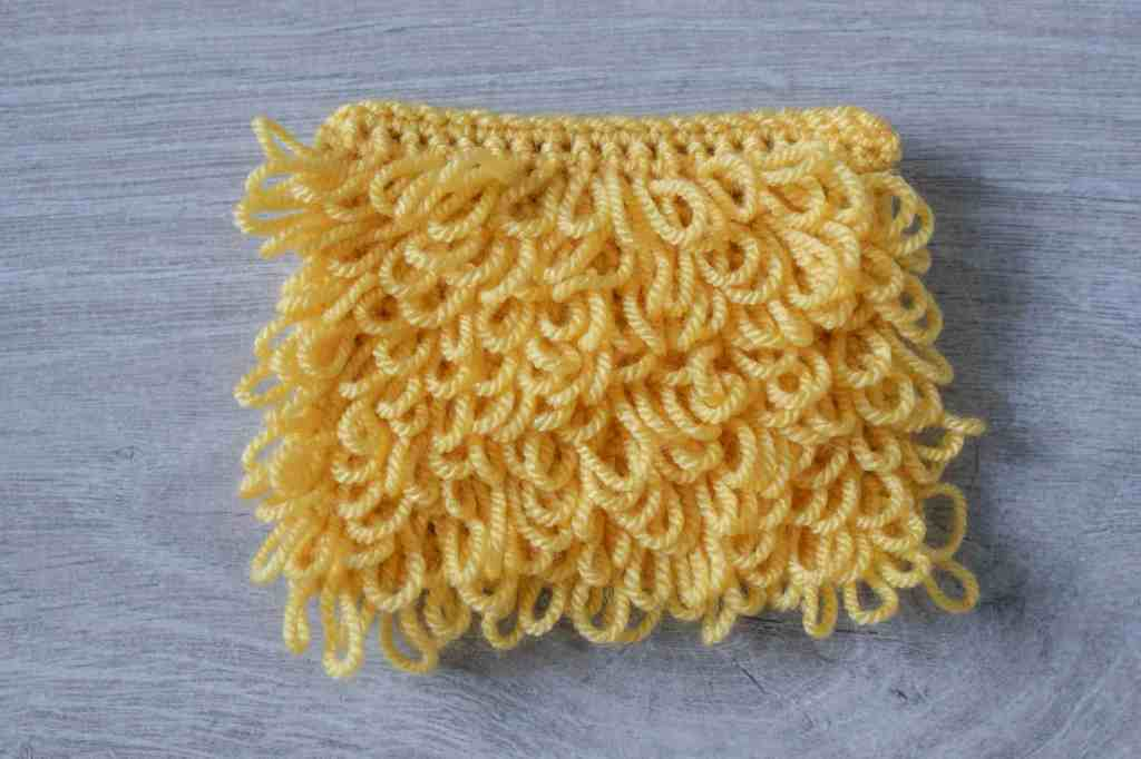 Yellow crochet loop stitch swatch
