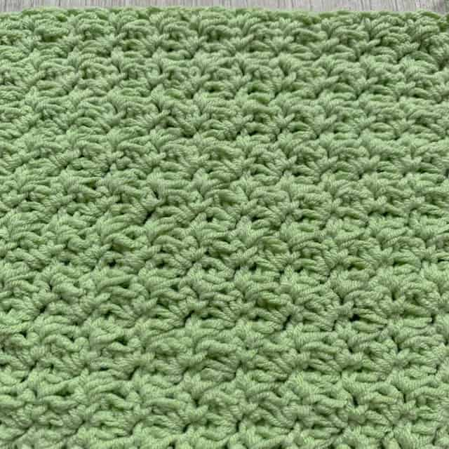 Suzette stitch crochet swatch in green