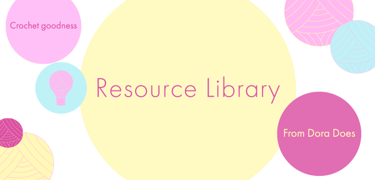 Resource library written in a yellow bubble with colourful yarn bobbles surrounding it