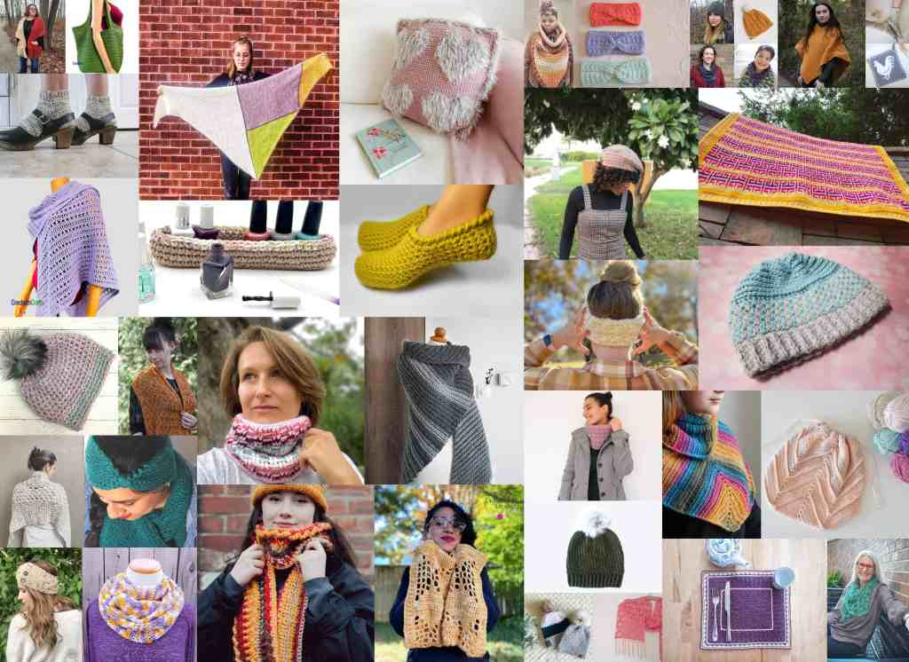 a collage of multiple crochet patterns included in the crochet for me bundle