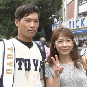 中川圭太(東洋大)とお母さんの画像
