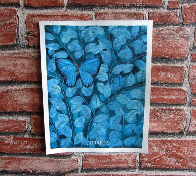 Blue Butterfly, watercolor