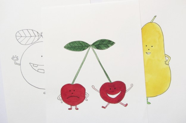 Happy Fruits, cherries, illustration for chidren.