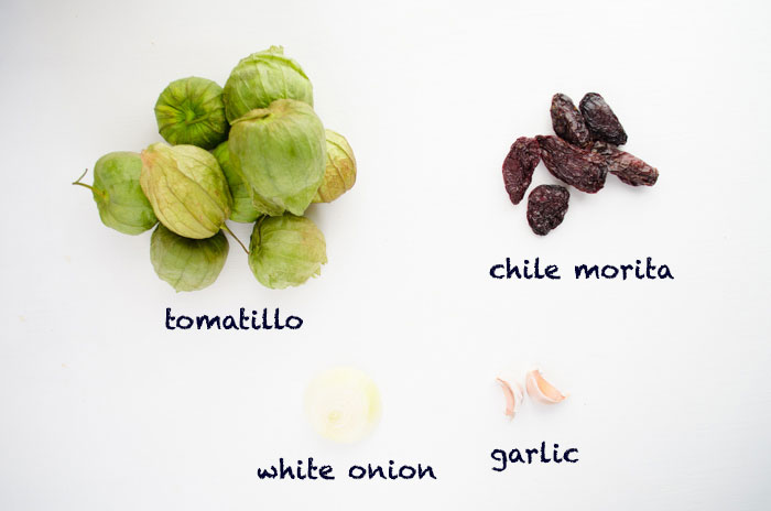 This recipe for chile morita salsa is a smoky and tangy combination of tomatillos, chile morita, garlic, and onion.