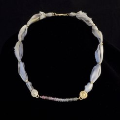 dyed light purple silk necklace with gold clasp and amethyst beads