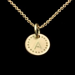 Round 18K Gold pendant with Initial.