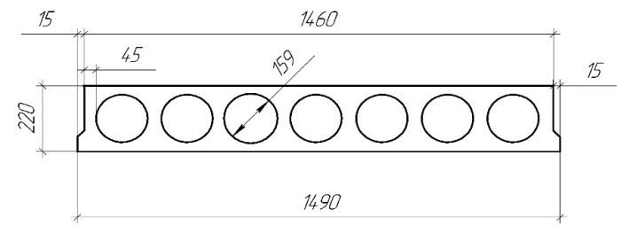 Габариты и характеристики многопустотной плиты серии 2 ПТМ 42.15.22 S1400