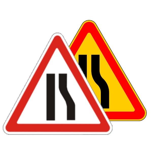 Картинка знак дорожный - Сужение дороги справа 1.18.2 беларусь, 1.20.2 россия