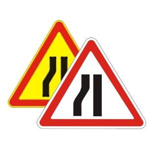 Знак дорожный - Сужение дороги слева 1.18.3 беларусь, 1.20.3 россия на картинке