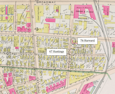Margaret's dwellings on Hastings and Harvard Street no longer exist. The city block is now part of the science and technology sector of Cambridge and is home to several large commercial buildings. She also lived at 42 Hampshire Street for a time, which was just a short ways to the northwest.