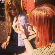 Florence pigment as hair dye? Lillian Wilkie and Pippa Eason are giving it a go.