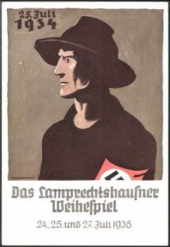 Künstler-AK Lamprechtshausen, Weihespiel 1938, Österreicher mit Hakenkreuzarmbinde
