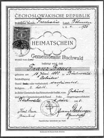 6 Bauer Franz (Tschank) Heimatschein