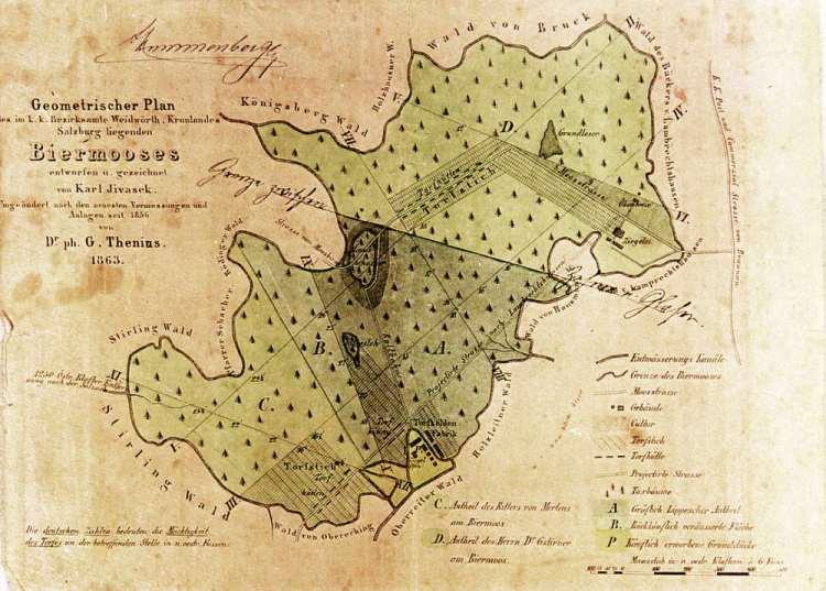 Karte von Biermoos aus 1856/1863