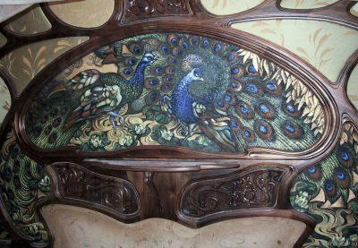 Ирина Агалакова - Павлин. Панно выполнено по индивидуальному заказу для встроенной мебели. Холст на дереве, смешанная техника. Модерн.