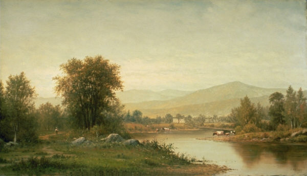 Charles Wilson Knapp - River and Mountains with Cows