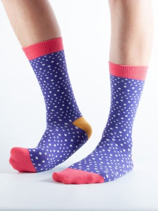 Womens Dotted bamboo socks - pink and purple