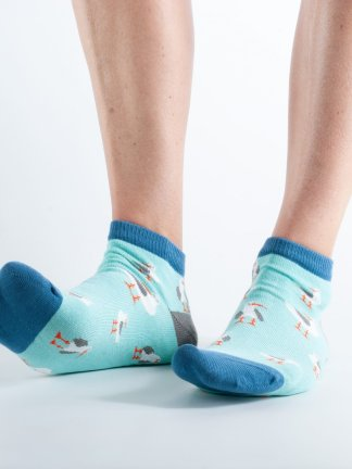 Womens ankle length Seagull bamboo socks - mint and blue