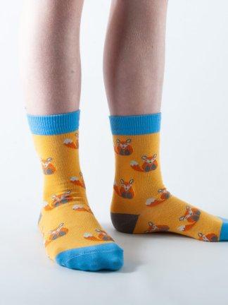 Kids Fox bamboo socks - yellow and blue