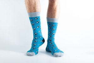 Mens Bug Beetle bamboo socks - blue and grey