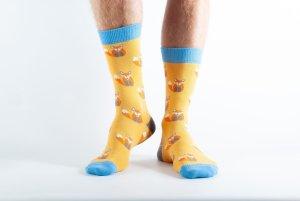 Mens Fox bamboo socks - yellow and blue