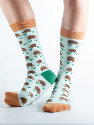 Womens Hedgehog bamboo socks - mint and brown