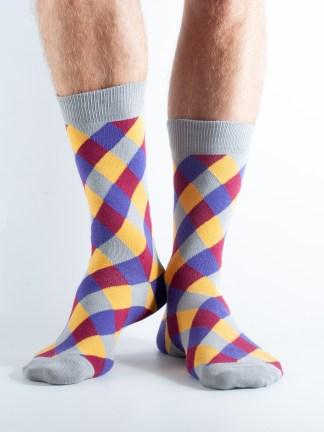 Mens Diamond plaid socks - yellow, grey and blue