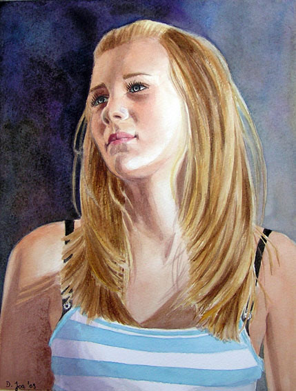 Blonde Hair Painting : blonde, painting, Blonde, Portrait, Painting, Watercolor