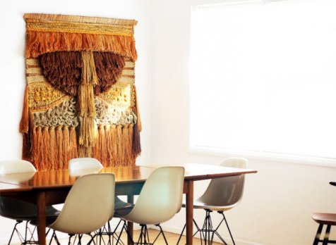 Handwoven Textiles Wall Decor Art in Dining Room