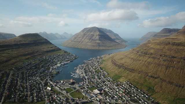KLAKSVIK, Faroe Islands – overview from the air by DRONE