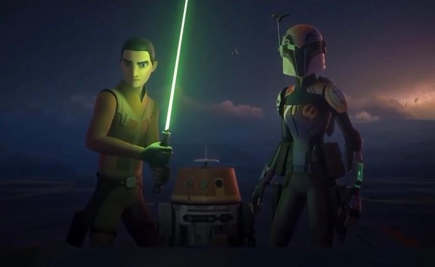 Ezra Bridger and Sabine Wren fight the Imperial Supercommandos