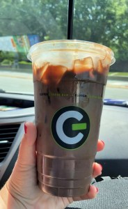 iced chocolate drink in clear cup