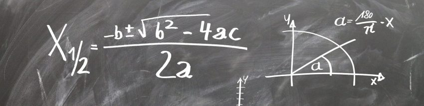 Mathematics Trivia Header depicting a chalkboard with equations and graphs.