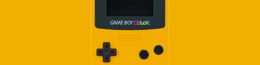 1990s Video Game Trivia Header depicting a yellow GameBoy Color