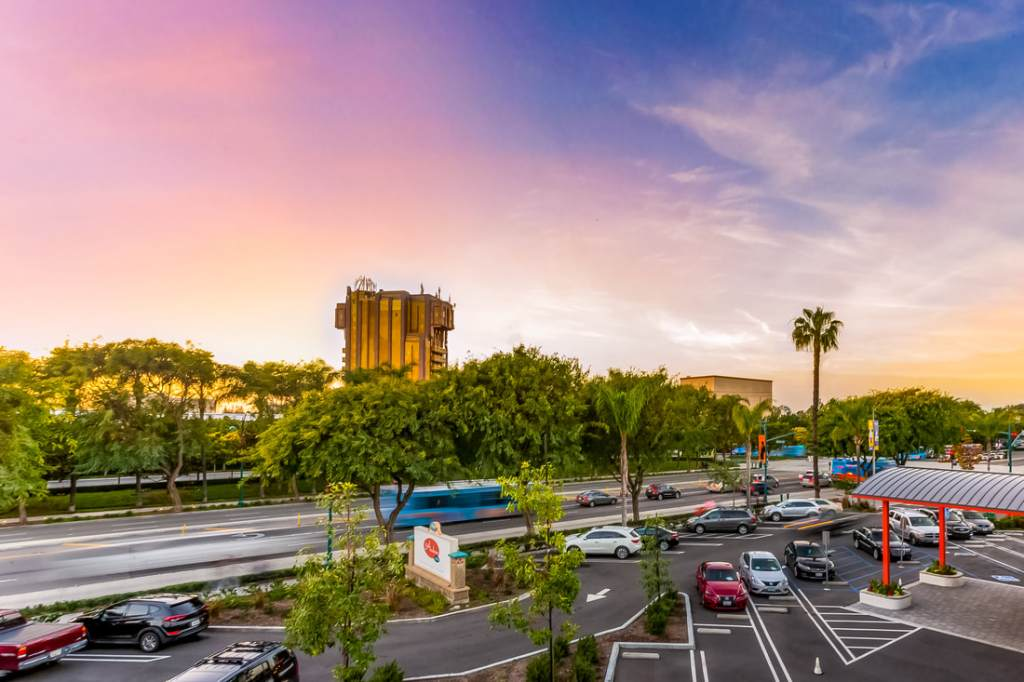 view of parking at the anaheim hotel