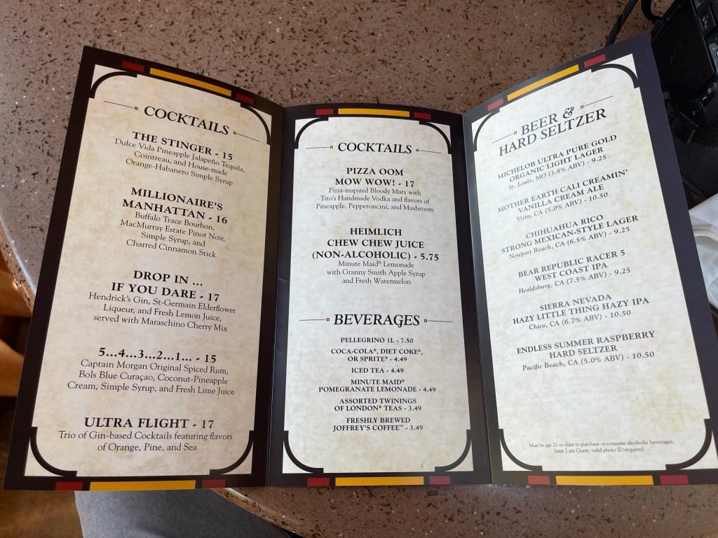 magic key terrace menu